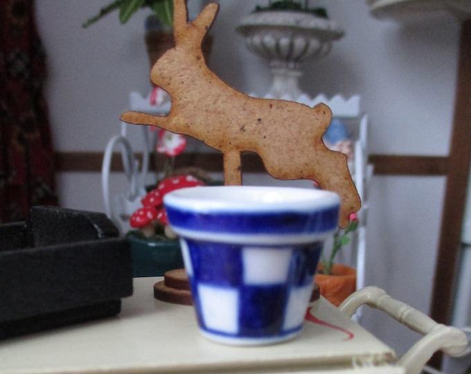 Miniature Flower Pot, Ceramic Blue And White Checkered Flower Pot, Style #70,  Dollhouse Miniature, 1:12 Scale, Dollhouse Decor Accessory