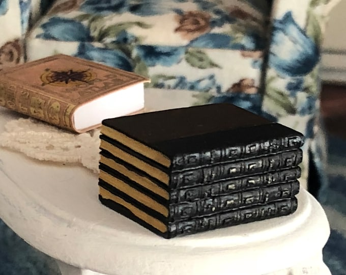 Miniature Books, Stack of Encyclopedias, Dollhouse 1:12 Scale Miniature, Dollhouse Accessory, Library Decor, Resin Book Stack