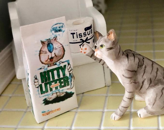 Miniature Kitty Litter, Mini Litter Bag, Dollhouse Miniature 1:12 Scale, Dollhouse Accessory Decor