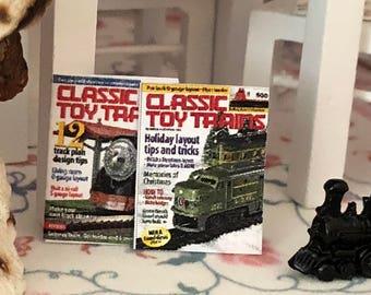 Miniature Magazines, Train Magazines, Set of 2, Dollhouse Miniature, 1:12 Scale, Dollhouse Accessory, Decor, Crafts, Mini Magazines