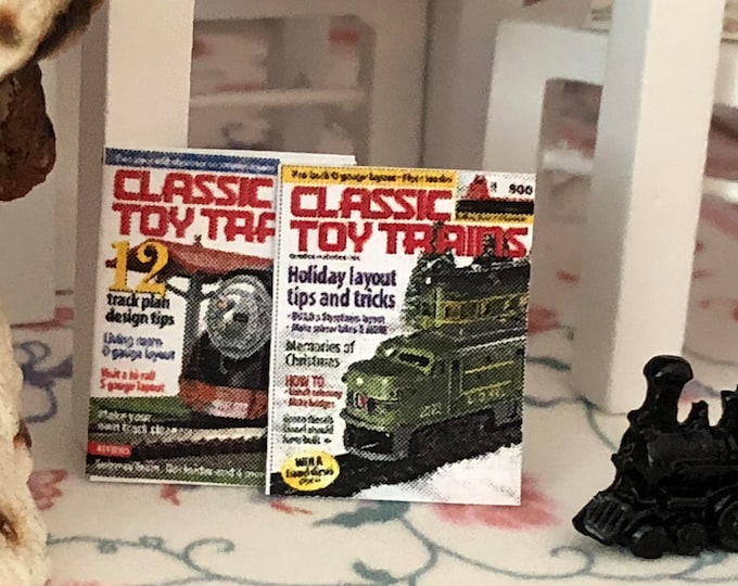 Miniature Magazines, Train Magazines, Set of 2, Dollhouse Miniature, 1:12 Scale, Dollhouse Accessory, Decor, Crafts, Mini Magazines