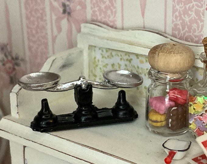 Miniature Balance Scale, Mini Vintage Look Scale, Dollhouse Miniature, 1:12 Scale, Dollhouse Scale, 1 inch Scale, Accessory, Decor