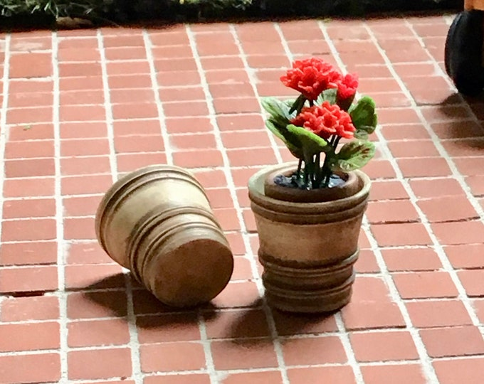 Miniature Flower Pots, Set of 2 French Country Look Mini Flower Pots, Dollhouse Miniature, 1:12 Scale, Dollhouse Accessory, Mini Garden
