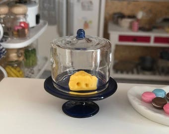 Miniature Glass Cake Stand, Cobalt Blue Stand, Glass Dome With Cheese, Dollhouse Miniatures, 1:12 Scale, Dollhouse Decor Accessory