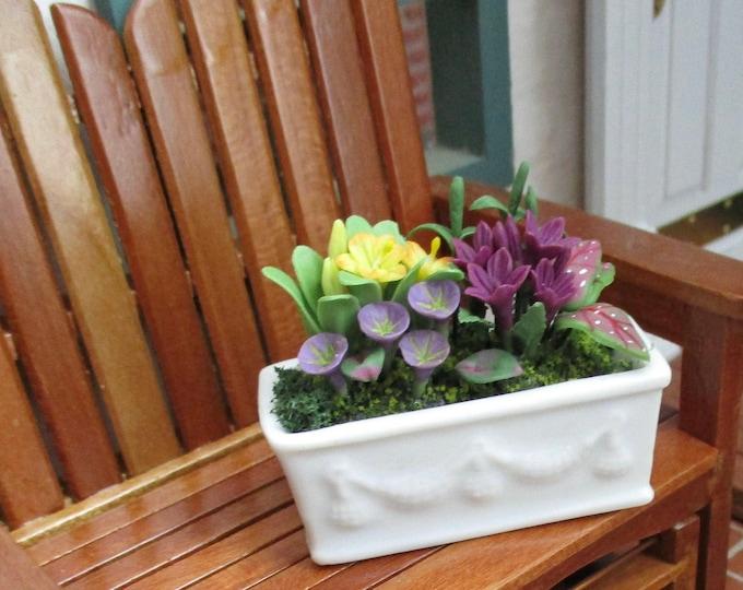 Miniature Flowers In White Ceramic Window Box, Assorted Flower Arrangement Style #67, Dollhouse Miniature 1:12 Scale, Mini Flowers