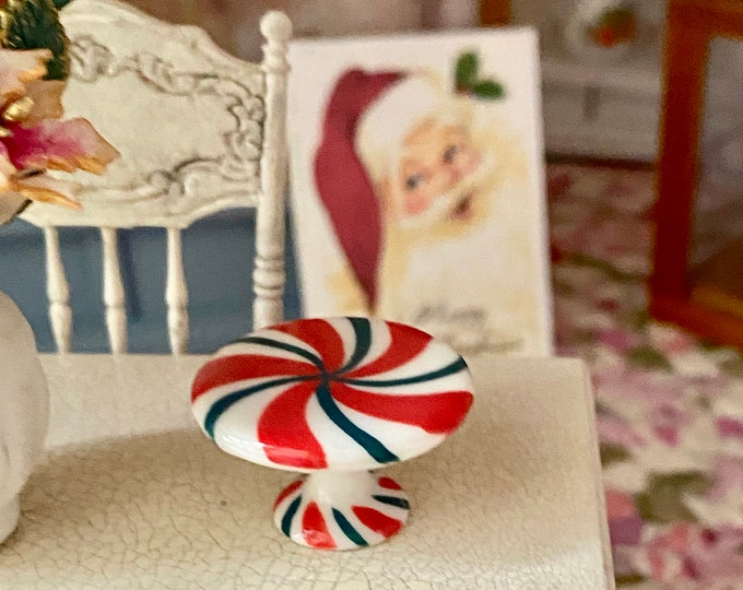 Miniature Christmas Cake Stand, Ceramic Cake Plate, Dollhouse Miniature, 1:12 Scale, Dollhouse Holiday Decor, Accessory