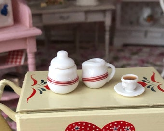Miniature Cream and Sugar Set, Ceramic Sugar Bowl and Cream, Red and White 2 Piece Set, Dollhouse Miniature, 1:12 Scale, Dollhouse Accessory