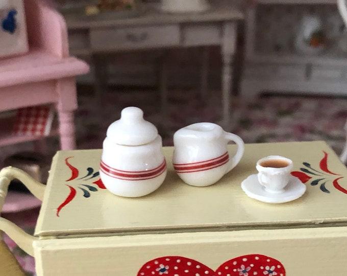 Miniature Cream and Sugar Set, Ceramic Sugar Bowl and Cream, Red and White 2 Piece Set, Dollhouse Miniature, 1:12 Scale, Dollhouse Accessory