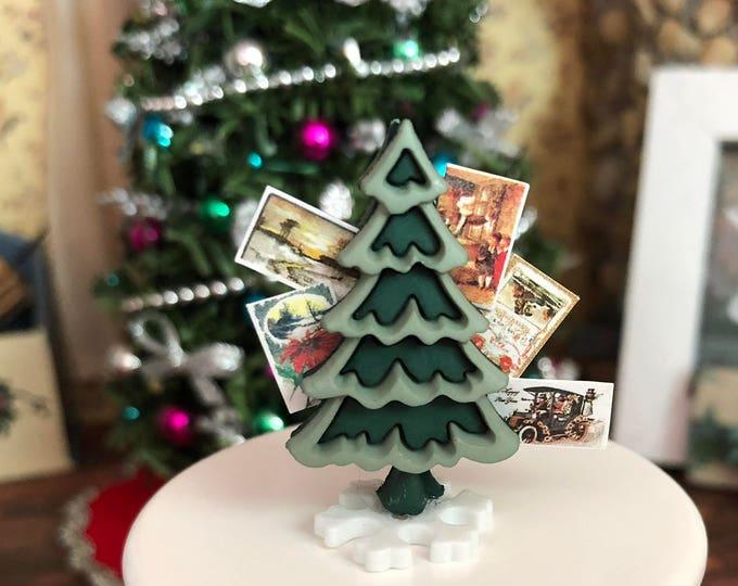 Miniature Christmas Card Holder, Mini Tree With Cards, Dollhouse Miniature, 1:12 Scale, Holiday Decor, Miniature Accessories
