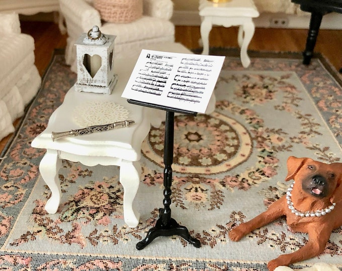 Miniature Music Stand and Sheet Music, Black Metal Mini Stand, Dollhouse Miniature, 1:12 Scale, Dollhouse Decor, Accessory, Mini Sheet Music