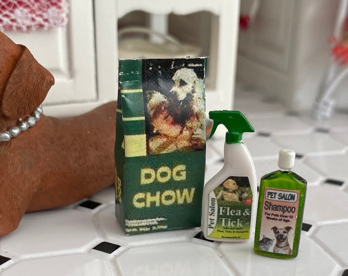 Miniature Dog Products, Flea Spray, Shampoo and Dog Food Bag, Dollhouse Miniatures, 1:12 Scale, Dollhouse Decor, Accessories