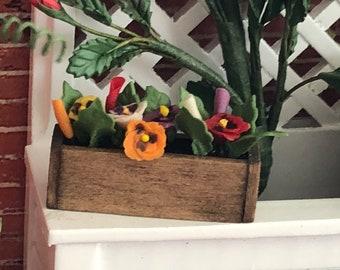 Miniature Pansies in Wood Window Box, Dollhouse Miniature, 1:12 Scale, Mini Flowers, Dollhouse Flowers, Mini Garden Decor, Crafts