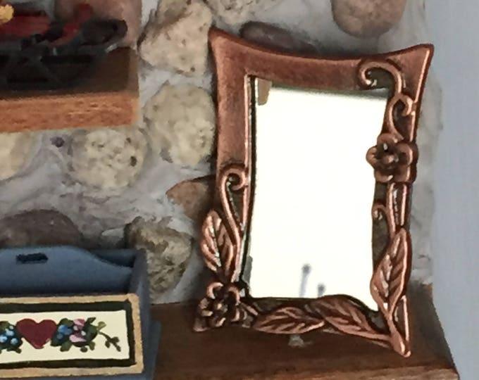 Miniature Copper Wall Mirror, Antique Look Copper, Dollhouse Miniature, 1:12 Scale, Mini Mirror, Dollhouse Accessory, Decor Item