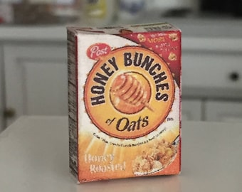 Miniature Cereal Box, Honey Bunches of Oats Mini Box, Dollhouse Miniature, 1:12 Scale, Dollhouse Accessory, Mini Food, Kitchen Decor