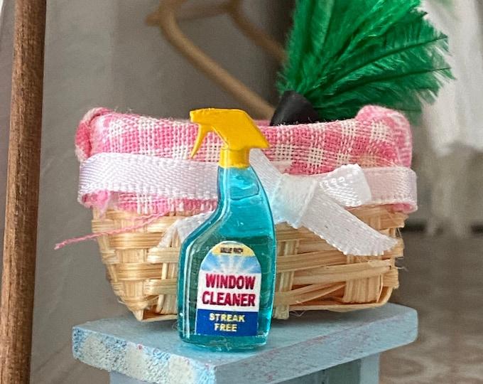 Miniature Window Cleaner Spray Bottle, Mini Blue Spray Bottle, Dollhouse Miniature, 1:12 Scale, Dollhouse Decor Accessory