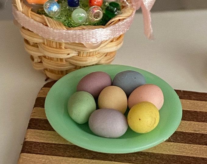 Miniature Easter Eggs, Mini Colored Eggs, 7 Piece Set, Dollhouse Miniature, 1:12 Scale, Dollhouse Food, Accessory, Mini Food, Holiday Decor