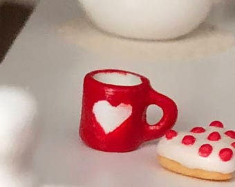 Miniature Heart Mug, Ceramic Cup, Valentine's Day Mug, Dollhouse Miniature, 1:12 Scale, Mini Mug, Decor, Dollhouse Accessory, Crafts