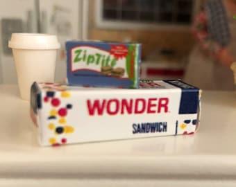 Miniature Bread and Sandwich Bag Box, 2 Piece Set, Dollhouse Miniatures, 1:12 Scale, Dollhouse Accessories, Decor, Crafts