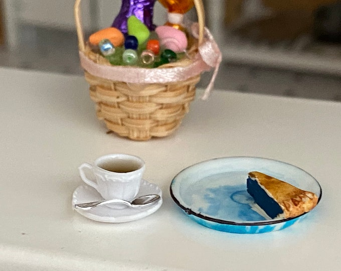 Miniature Pie & Coffee Set, Slice of Pie in Blue Flow Pie Pan and Filled Coffee Cup on Saucer, Dollhouse Miniature, 1:12 Scale, Mini Food