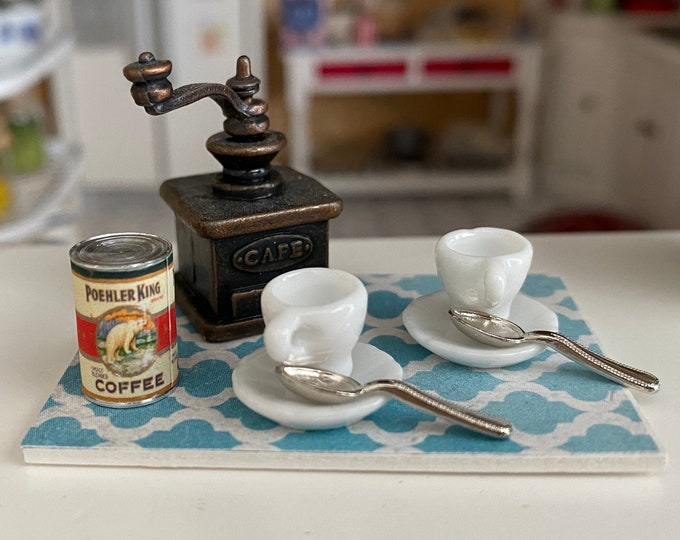 Miniature Coffee Set, Grinder, Coffee Can, Cups, Saucers and Spoons, 8 PC Set, Dollhouse Miniatures, 1:12 Scale, Dollhouse Decor, Accessory