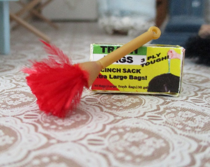Miniature Feather Duster, Mini Red Feather Duster, Dollhouse Miniature, 1:12 Scale, Dollhouse Decor, Accessory, Mini Cleaning
