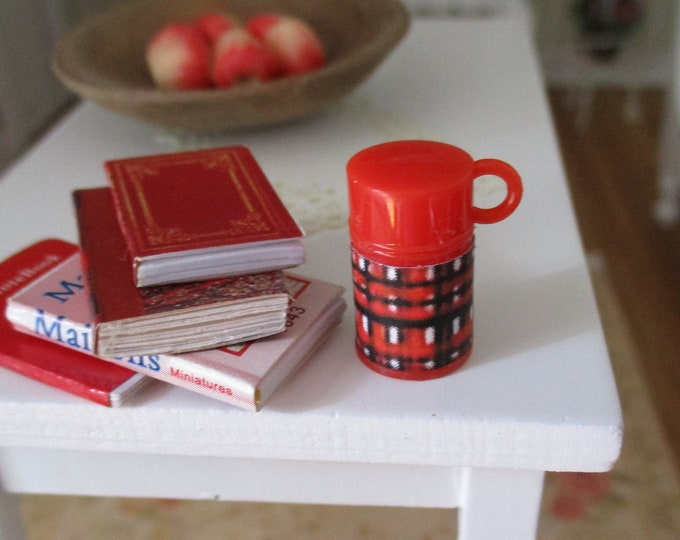 Miniature Thermos, Mini Red And Black Plaid Thermos, Dollhouse Miniature, 1:12 Scale, Mini Thermos, Accessory, Decor