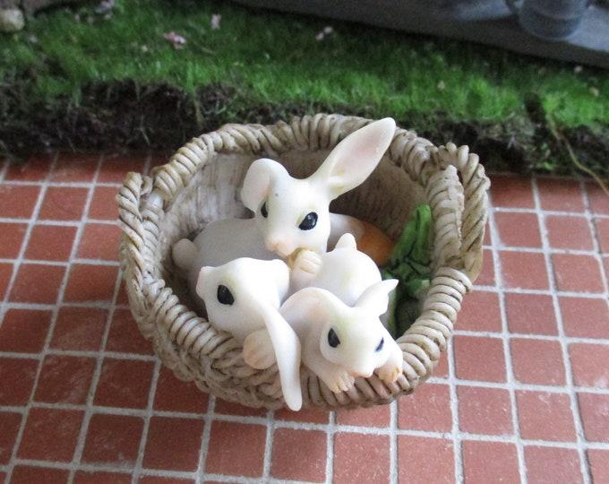 Bunnies in Basket Figurine, Three Bunny Rabbits in Resin Basket, Shelf Sitter, Fairy Garden Miniature Garden Decor, Gift