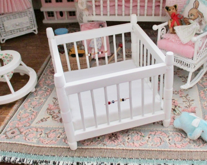 Miniature White Playpen, Dollhouse Miniature Furniture, Style #68, 1:12 Scale, Dollhouse Nursery Decor, Miniature, Dollhouse Accessory