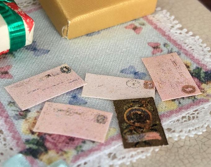 Miniature Mail, 5 Piece Set, Dollhouse Miniature, 1:12 Scale, Dollhouse Accessories, Decor, Crafts, Mini Envelopes, Letters