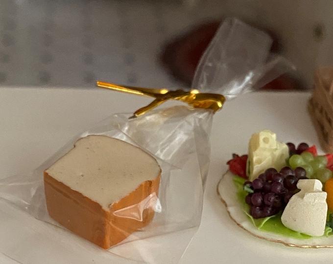 Miniature Bread, Mini Cut Loaf of Bread in Bag, Dollhouse Miniature, 1:12 Scale, Dollhouse Food, Mini Bread, Dollhouse Decor