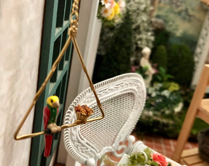 Miniature Parrot on Perch, Mini Metal Perch with Parrot and Food, Dollhouse Miniature, 1:12 Scale, Hanging Mini Perch, Dollhouse Decor, Pet