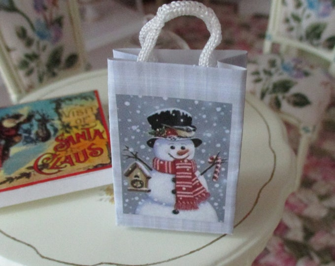 Miniature Shopping Bag, Mini Holiday Snowman Winter Scene Paper Bag With Handles, Style #61E, Dollhouse Miniature, 1:12 Scale