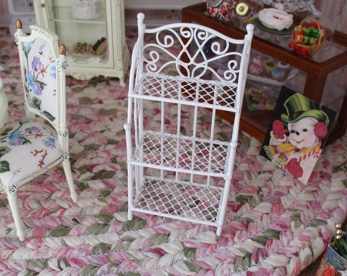 Miniature Baker's Rack, Mini 3 Shelf Union, White Metal Shelf, Dollhouse Miniature Furniture, 1:12 Scale, Miniature Shelves, Dollhouse Decor
