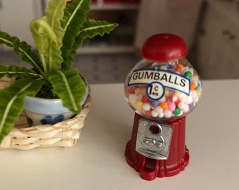 Miniature Gumball Machine, Filled Gum Ball Machine, Dollhouse Miniature, 1:12 Scale, Dollhouse Accessory, Store Display, Topper, Crafts