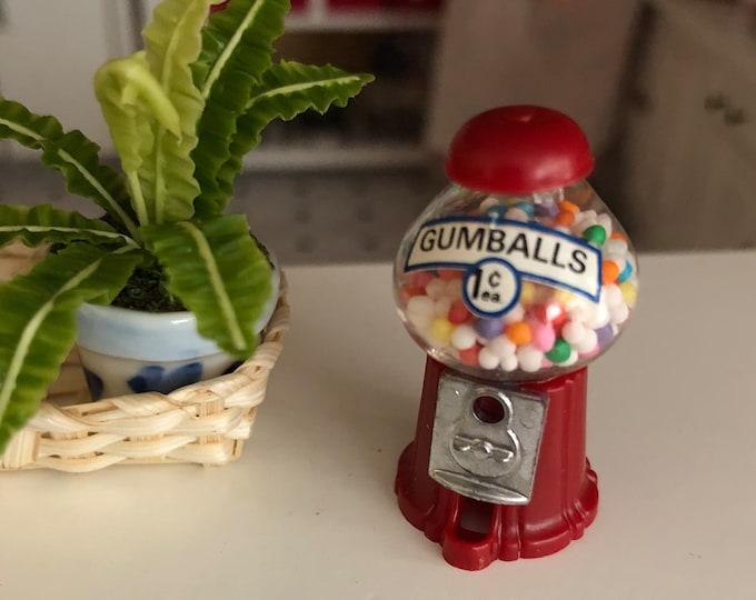 Miniature Gumball Machine, Filled Gum Ball Machine, Dollhouse Miniature, 1:12 Scale, Dollhouse Accessory, Store Display, Topper, Crafts