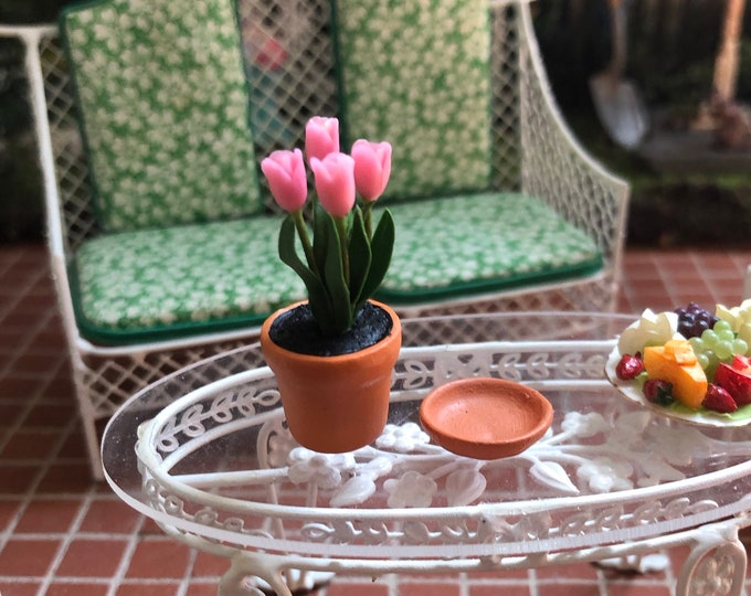 Miniature Pink Tulips in Clay Flower Pot with Removable Saucer, Style #51, Dollhouse Miniature, 1:12 Scale, Dollhouse Flowers