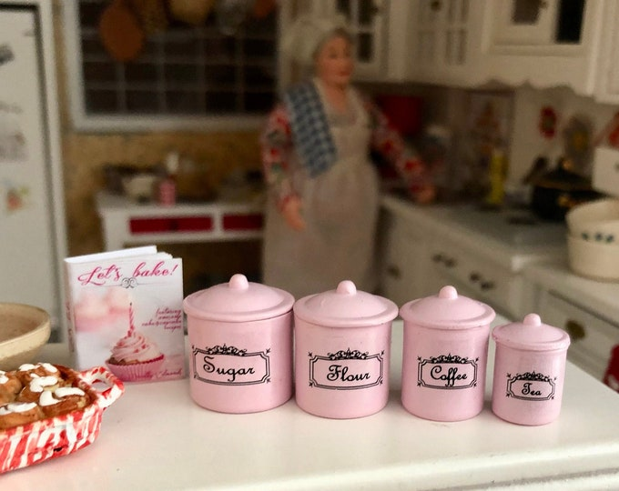 Miniature Pink Canister Set, Mini Canisters, 4 Piece Set, Style #11, Dollhouse Miniature, 1:12 Scale, Dollhouse Kitchen Decor, Accessory