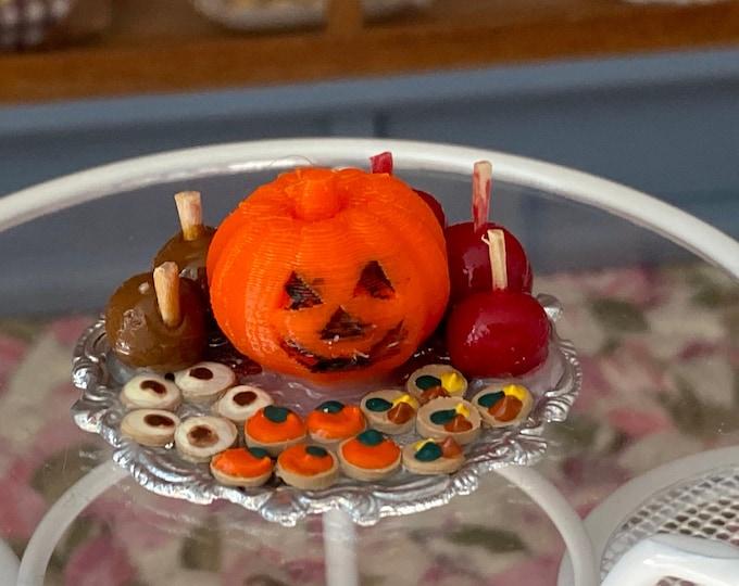 Miniature Pumpkin Platter, Mini Candy Apples & Fall Candy on Silver Tray With Pumpkin, Centerpiece, Dollhouse Miniature, 1:12 Scale, Fall