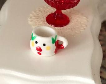 Miniature Santa Mug, Mini Ceramic Christmas Mug, Dollhouse Miniature, 1:12 Scale, Dollhouse Holiday Decor, Accessory, Crafts