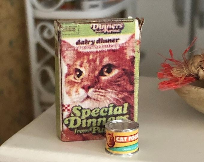 Miniature Cat Food Box and Can Set, Dollhouse Miniatures, 1:12 Scale, Dollhouse Accessory, Decor, Crafts, Mini Pet Food