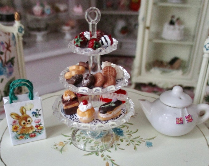 3 Tiered Glass Dessert Server Filled With Desserts, Mini Food, Style #03,  Dollhouse Miniature, 1:12 Scale, Dollhouse Food, Decor, Accessory