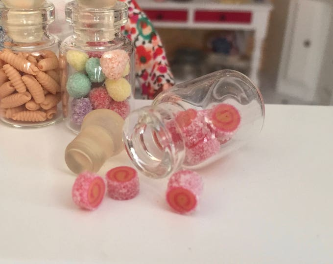 Miniature Jar Filled with Rolled Sugar Candies, Dollhouse Miniature, 1:12 Scale, Mini Food, Dollhouse Food, Accessory, Decor, Crafts