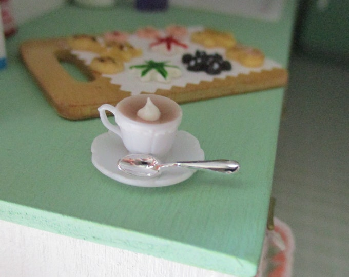 Miniature Hot Cocoa Cup On Saucer With Spoon, Mini Hot Chocolate In Cup, Style #70, Dollhouse Miniature, 1:12 Scale, Mini Food, Drink