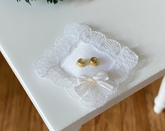 Miniature Ring Bearer Pillow with Rings, Silk Pillow with Lace and Bow, Dollhouse Miniature, 1:12 Scale, Dollhouse Wedding, Accessory