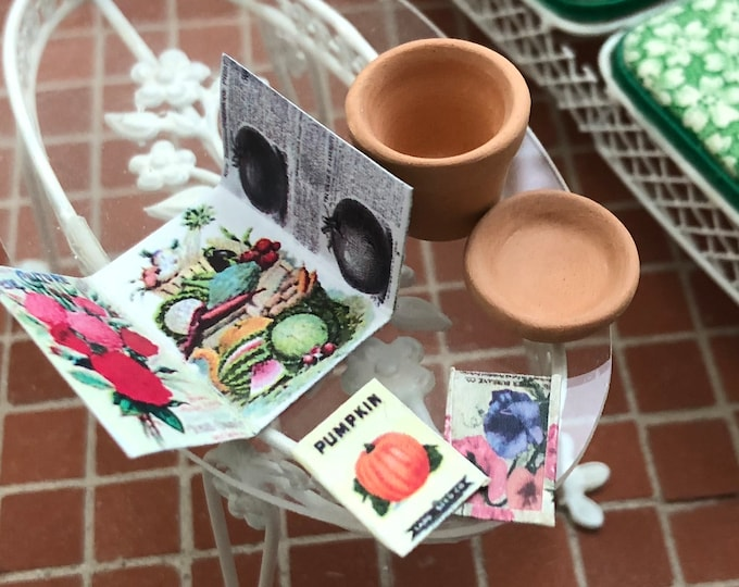 Miniature Gardening Set, Clay Flower Pot With Saucer, Seed Catalog, Pumpkin and Flower Seed Packets, Dollhouse Miniatures, 1:12 Scale
