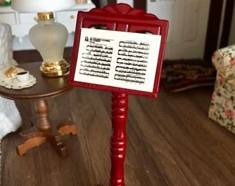 Miniature Music Stand and Sheet Music, Wood Stand 4 Inches Tall, Dollhouse Miniature, 1:12 Scale, Mini Wood Music Stand, Sheet Music
