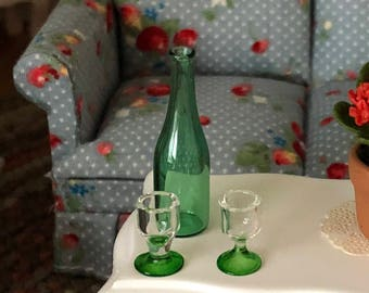 Miniature Wine Bottle and Glasses, Green Glass Bottle and 2 Glasses, Dollhouse Miniatures, 1:12 Scale, Dollhouse Accessory, Decor, Crafts