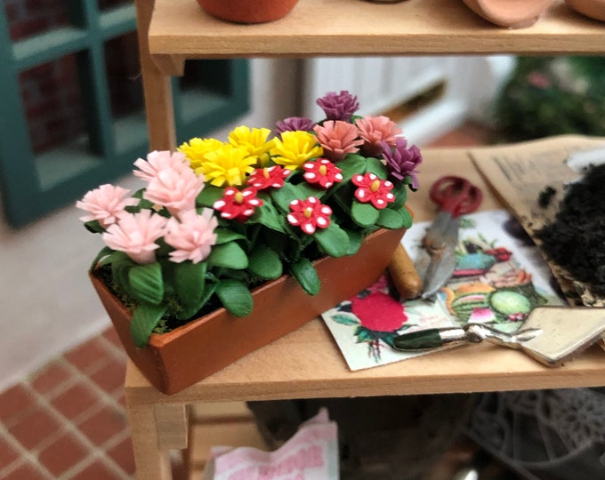 Miniature Flowers, Assorted Flowers in Clay Window Box Planter, Style #24, Dollhouse Miniature, 1:12 Scale, Mini Flowers