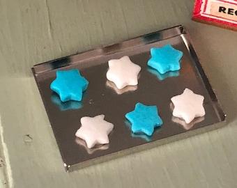 Miniature Hanukkah Cookies On Baking Sheet, Blue and White Mini Cookies, Dollhouse Miniature, 1:12 Scale, Mini Food, Holiday Decor