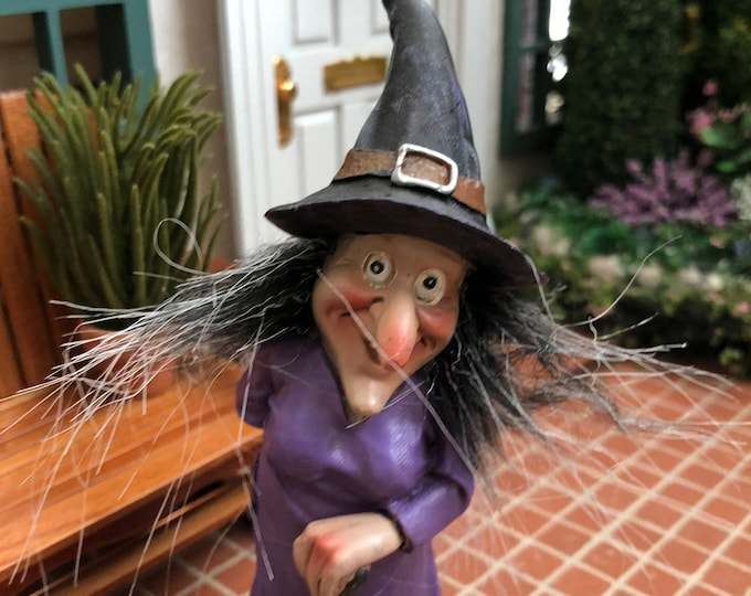 Witch Figurine, Standing Witch In Purple, Fairy Miniature Garden Decor, Halloween Decoration, Shelf Sitter, Gift, Topper